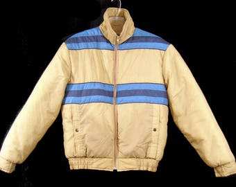 Vintage 1970's 80's MEN'S SKI JaCKET Sport-abouts Big Yank Puffer Puffy XL Tan
