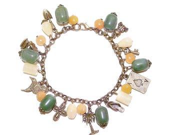 Antique Brass Charm Bracelet w Red Aventurine, Green Aventurine & Honey Quartz