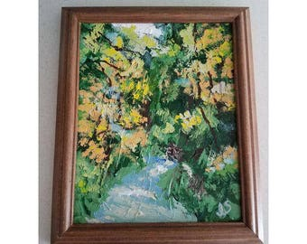 Abstract Impressionism Forest & Stream Framed Landscape Painting