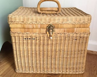 Vintage Picnic Basket, Deep Wicker Basket, Handles, Metal Latch, Glamping