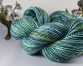 Handspun Yarn Very Gently Thick and Thin Fine Fingering Single Silk and Merino 'Blue Lagoon'