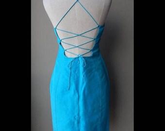 ON SALE RALPH by Ralph Lauren Blue Bodycon Silk Dress Size 6