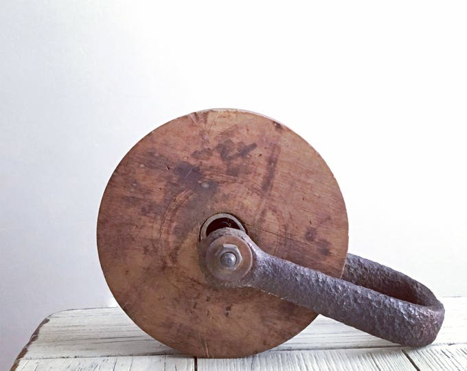 Vintage Wood & Iron Barn Pulley Rustic Industrial Decor