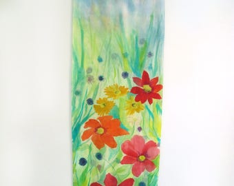 Silk Hand-Painted Shawl Or Wall Hanging Art, Flowers, One Of A Kind  Silk Art