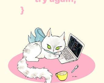 coding kitten -  A4 PRINT.
