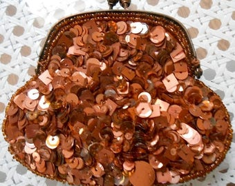 ON SALE Vintage Bronze Brown Sequined Coin Purse