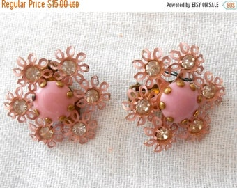 ON SALE Vintage Mid Century Pink Metal and Rhinestone Floral Daisy Clip On Earrings with Pink Centers