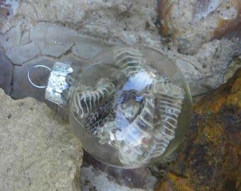 Cruelty Free Real Melanistic (Black) Western Diamondback Rattler Rattlesnake Skin Shed Miniature Glass Ornament.