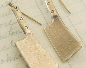 Vintage Earrings - Cleaver Knife Earrings - Knife Jewelry - Vintage Brass Earrings - handmade jewelry