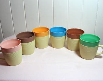 Raffiaware by Thermo Temp Insulated Mugs Cups from 1960s