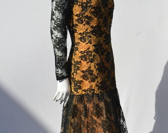 Vintage 60's PEGGY HUNT black lace dress fish tail sexy gown size M/8 american mid century design by thekaliman