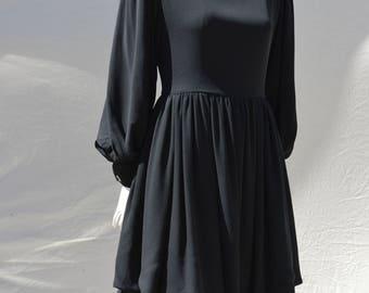 Vintage 70's GALANOS dress gown Galanos for Amen Wardy silk chiffon dress billowy sleeves designer avant garde couture Sm by thekaliman