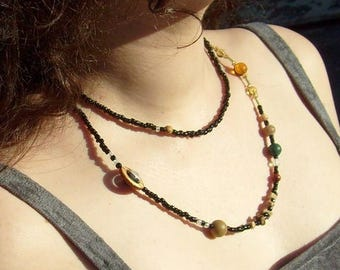 June SALE! Solar System Cosmogram Necklace (38 inch style) - Planets of the Solar System - Statement Necklace - Beadwork