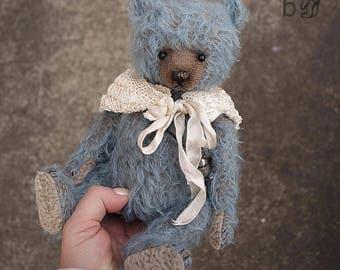 One Of a Kind Blue Mohair Artist Teddy Bear from Aerlinn Bears