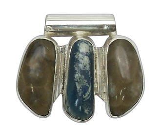Petoskey Stone & Leland Bluestone Three Stone Pendant set in Sterling Silver  ppklbg2802