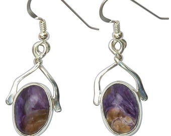 Charoite and Sterling Silver Dangle Earrings  echte2825
