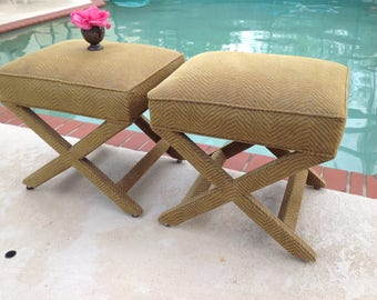 "X BENCHES Hollywood Regency Style / Pair of X Benches 19.5"" tall x 20.5"" long x 17.5""/ Palm Beach Chic Style On Sale at Retro Daisy Girl"