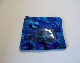 Sea Turtle Batik Zipper Change Purse