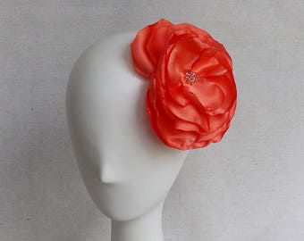 Oversized Flower Brooch/Clip Combo in Coral Satin
