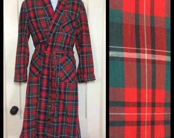 1950's cotton smoking jacket long robe looks size medium red black green white plaid rockabilly loungewear