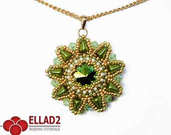 Tutorial Hara Flower Pendant - Beading tutorial, Super-Kheops par Puca, Instant download, Flower shaped pendant, design by Ellad2