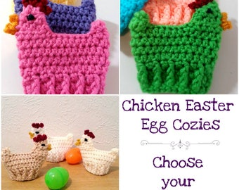 Chicken Easter Egg Cozies, Crochet Egg Cozies, Set of 3 Easter Decorations, Choose Your Colors