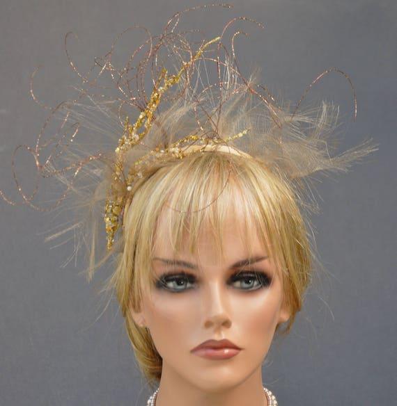 Headpiece Fascinator, Gold Crown, Kentucky Derby Fascinator Hat Gold Headpiece, Wedding Fascinator Hedpiece, Tiara, Hair Wreath Headpiece,