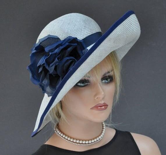 Wedding Hat, Derby Hat, Ladies Navy Hat, Ladies Gray Hat, Wide Brim Hat, Formal Hat, Dressy Hat, Church Hat, Ascot Hat, Big Hat Ocassion Hat