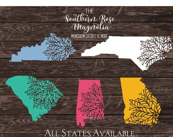 State Mandala, North Carolina Decals, Mandala Decal, Vinyl Decal Mandala, Boho car decals, State decals, Mandala Sticker
