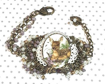 Fawn Laying in Flowers Brass Bracelet, Purple and White Cameo