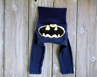 NEWBORN Upcycled Merino Wool  Longies Diaper Cover With Added Doubler Navy Blue With Batman Applique NEWBORN 0- 4M Kidsgogreen