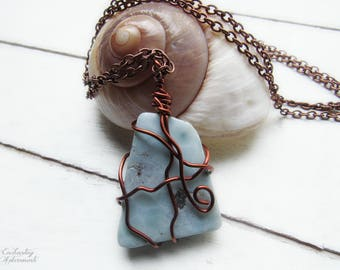 """Divine Feminine .:. OOAK Genuine Larimar Gemstone wire wrapped pendant necklace -- with aged copper,  extra long 26"""" chain, sea goddess"""