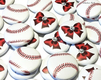 "Baseball Gender Reveal, Baseballs or Bows, Red Baseball, Red Bows, 1"", 1.5"", 2.25"", Pinback Button, Baby Shower, Team Boy, Baby Reveal Pin"