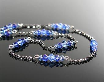 Dainty Sapphire Crystal Necklace, Sterling Silver, September Birthstone, Simple Minimalist Necklace, Blue Swarovski Crystal Jewelry