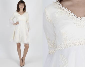 Wedding Dress Bridal Dress Chiffon Dress Bell Sleeve Dress Vintage 70s Floral Wedding Dress Embroidered Dress Tiered Mini Dress
