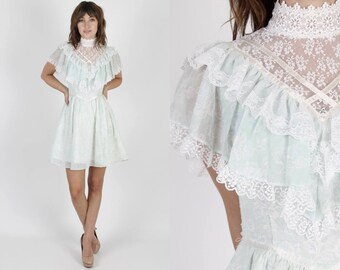 Gunne Sax Dress Jessica McClintock Dress Boho Dress Prairie Dress Bohemian Dress Vintage 80s Dress Light Blue Floral Sheer White Lace Mini