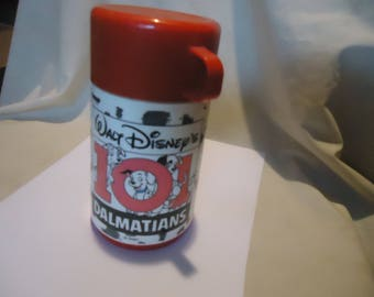 Vintage Walt Disney 101 Dalmatians Lunchbox Aladdin Thermos Bottle With Cup, collectable