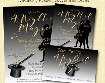 A Night of Magic Invitation Kit, Invitation, Save the Date and Poster, Black and Gold, Prom, Fundraiser/Corporate Event/Birthday/Anniversary