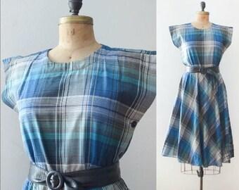 Vintage 1980's Black & Blue Shadow Plaid Dress
