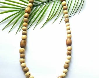 Men's large wood bead necklace- mens dark brown necklace-The Waseyu no 31