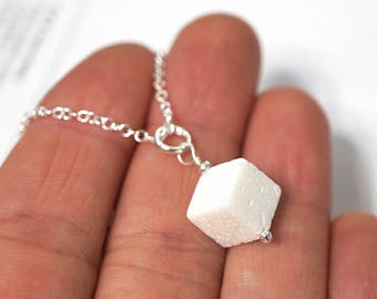 Boho Jewelry Boho Jewelry Sugarcube Pendant Sugar Cube Necklace Real White Coral Charm Necklace Sterling Silver Chain Simple Necklace