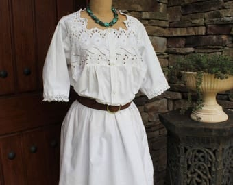 Antique Edwardian Cotton Night Gown Dress with Eyelet Embroidery and Lace