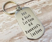 DAD - A Son's 1st Hero and a Daughter's 1st Love - Hand Stamped Key Chain for Father's Day - Bright Silver Strong Aluminum