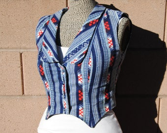 Vintage 1970's Blue and Red Patterned fitted Vest
