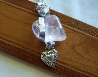 Natural Rose Quartz Gemstone Crystal Silver Heart Pendant