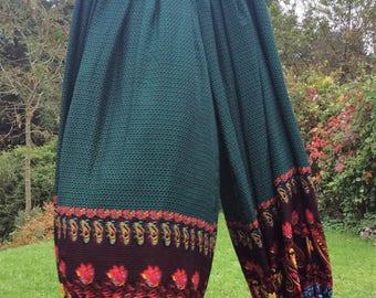 Harem pants, belly dance pants, tribal pantaloons, women's pants, green pants