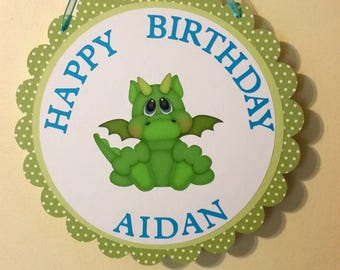 Green dragon birthday door sign, personalized birthday door sign
