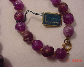 Vintage Lisner Purple & Gold Plastic Beads Necklace With Original Hang Tag  18 - 244