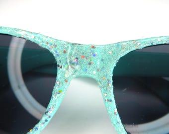 Aqua Green Holographic Glitter Sparkly Wayfarer Style Sunglasses