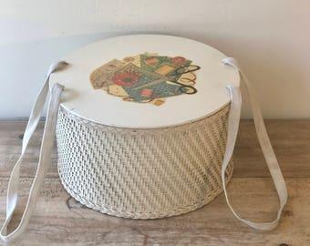 Vintage 1940's Wicker Sewing Basket